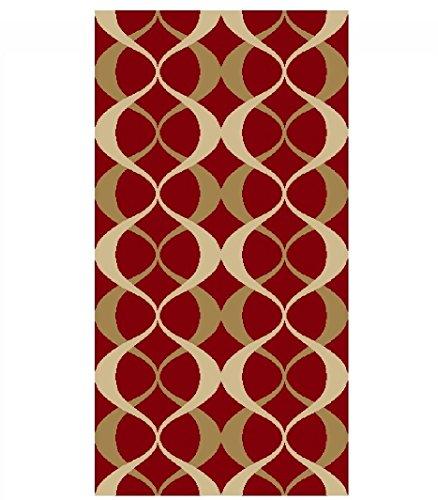 Lattice Design (ADGO Collection Contemporary Moroccan Mediterranean Trellis Lattice Design Rubber-Backed Non-Slip Non-Skid Area Rugs, Cherry Red and Gold, 24