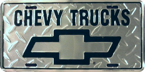 - Chevy Trucks Diamond Embossed background metal auto tag 6 x 12