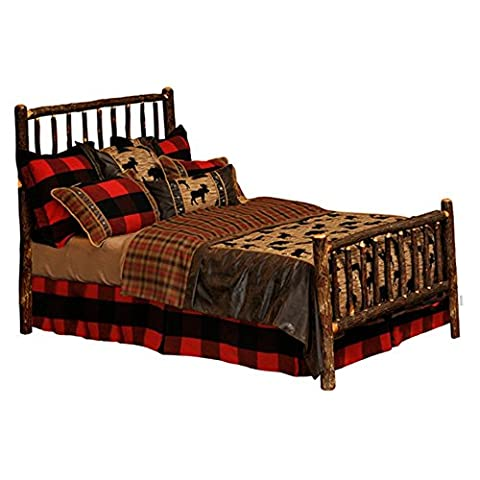 Fireside Lodge Furniture 80010A-CK Complete Hickory Traditional Bed with Rustic Alder Rails, California - Lodge Bedroom Furniture