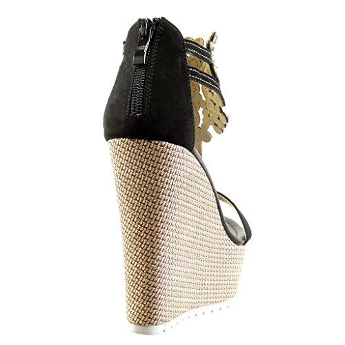 plataforma CM correa bordado Moda de Negro Talón 13 joyas Angkorly mujer zapatillas de Plataforma Zapatillas Sandalias Aqgnw40
