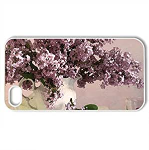 Lilacs - Case Cover for iPhone 4 and 4s (Flowers Series, Watercolor style, White)