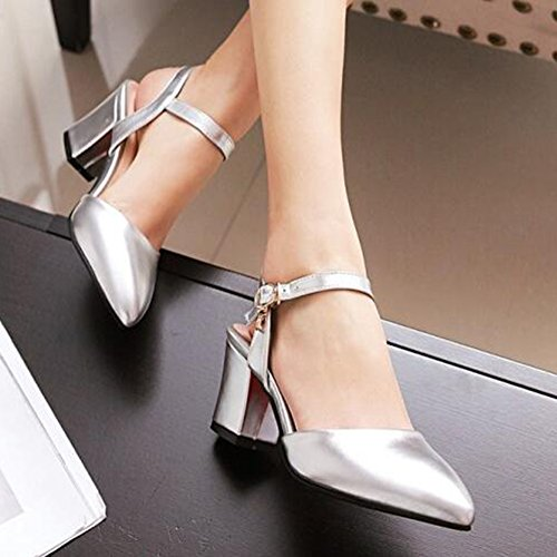 Aisun Women's Sexy Buckle Strap Pointed Toe Low Chunky Heels Slingback Sandals Silver 7sEUKxV