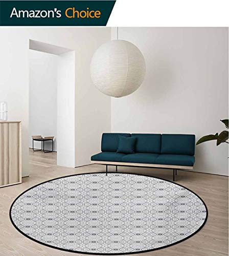 RUGSMAT Damask Non-Slip Area Rug Pad Round,Monochrome Eastern Culture Inspirations with Geometrical Shapes Swirls Dots Protect Floors While Securing Rug Making Vacuuming,Round-51 Inch (Swirl Velvet Rug)
