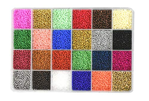 (Mandala Crafts Glass Seed Beads, Small Pony Beads Assorted Kit with Organizer Box for Jewelry Making, Beading, Crafting (Round 2.1X1.8MM Size 11/0, 24 Assorted Multicolor Set Combo 1))