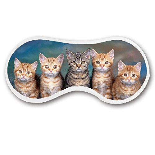Promini Cute Cat Brothers Sleep Mask with Strap Lightweight Comfortable Eye Mask for Bedtime Relaxation, Travel, Shift Work, (Funny Face Masks)