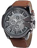 AMPM24 Men's WAA765 Analog Quartz Big Case Black Dial Leather Band Wrist Watch