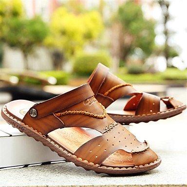 Los hombres Sandalias Primavera Verano Confort suelas de luz exterior de cuero Casual talón plano azul marrón caqui Zapatos US8 / EU40 / UK7 / CN41