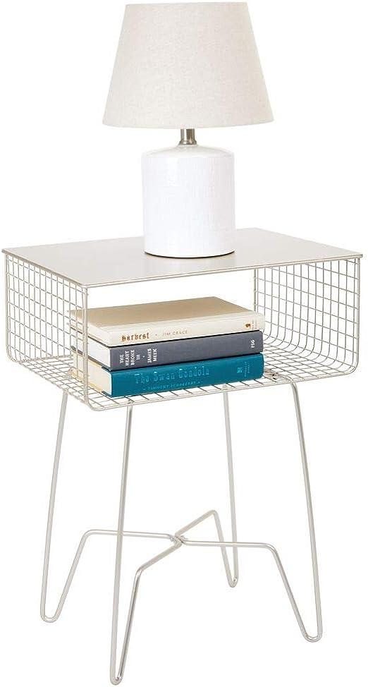 mDesign Mesita de noche vintage – Moderna mesa de metal resistente ...