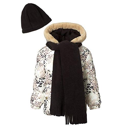 Pink Platinum Girls Puffer Jacket Set with Hat & Scarf – Fun Animal Print Jacket Hat Set Girl