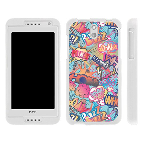 , Rubberized Snap On Shell Full Cover Case Slim Fitted White Cover with Unique , From TURTLEARMOR | 2 in 1 Combo Includes Clear Screen Protector and Case - Action Comic book ()