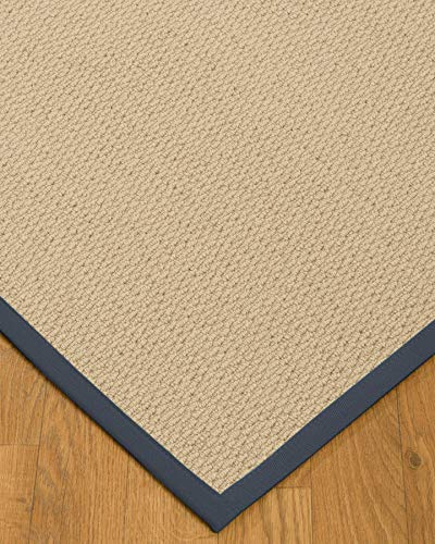 NaturalAreaRugs 100%, Natural Fiber Handmade Cassel, Pinkish Beige Wool Rug (2' X 3'), Marine Border