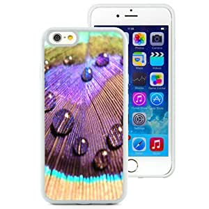Beautiful Unique Designed iPhone 6 4.7 Inch TPU Phone Case With Peacock Colorful Feather Dew_White Phone Case