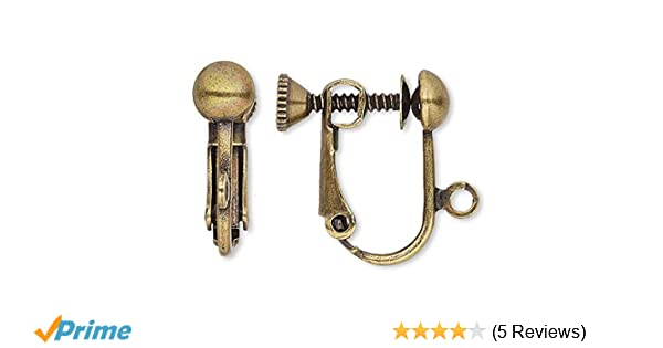 10 Platinum Plated Brass Clip On Screw Back Earring Findings w//Open Loop /& Ball