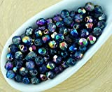 3 mm fire polished crystals - 100pcs Crystal Clear Magic Metallic Blue Valentine Pink Half Round Faceted Fire Polished Small Spacer Czech Glass Beads 3mm