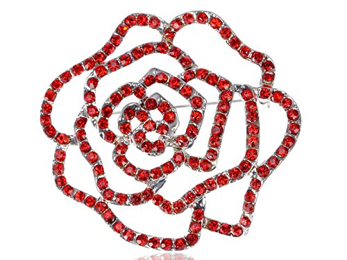 Womens Silvery Tone Crystal Rhinestones Floral Flower Rose Bud Brooch Pin