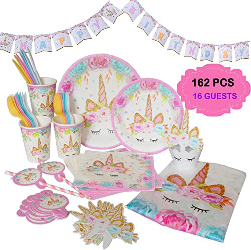 Ultimate Unicorn Plates and Supplies for Birthday Party | Best Value 162 Decorations Item Set That Give Everything You Need To Make a Long Lasting Magical Memorable Parties For Your Little Princess
