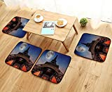 Printsonne Elastic Cushions Chairs Full Mo Night Sky Dusk Digital Style Minimal French Flag Eiffel Tower for Living Rooms W29.5 x L29.5/4PCS Set