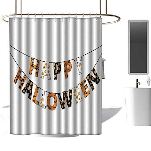 Halloween,Shower Curtains Transparent,Happy Halloween Banner Greetings Pumpkins Skull
