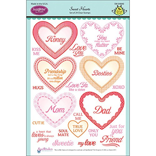 - Justrite 29-Piece Papercraft Clear Stamp Set, 6 by 8-Inch, Sweet Hearts