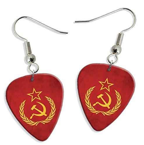 (Soviet Union Hammer & Sickle Flag 2 X Logo Guitar Pick Earrings (GD))