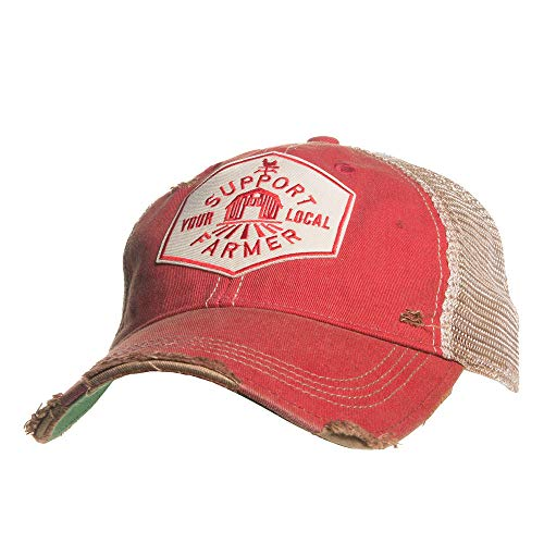 Mason Jar Label Llc Mens Support Your Local Farmer Red Hat O/S Distressedred -