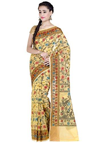 Yellow Cotton Blend Banarasi Saree(1287YEL) ()