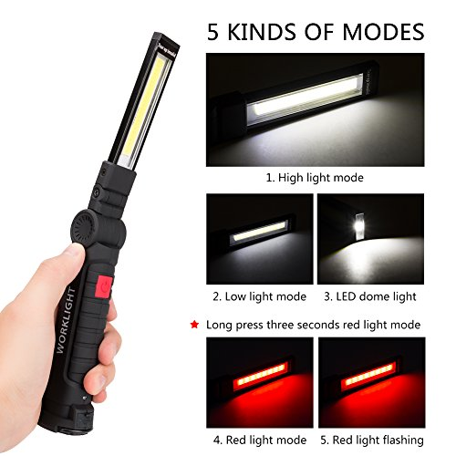 LED Work Light, Coquimbo COB Rechargeable Work Lights with Magnetic Base 360 Degree Rotate and 5 Modes LED Flashlight Inspection Light for Car Repair, Household and Outdoor Use (2 Pack, 27x4.5cm)