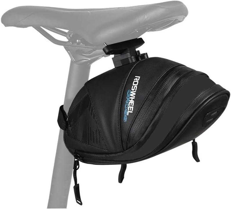 WOTOW impermeable Bicicleta Saddle Bag, encerado bajo el asiento bicicleta resistente al agua Wedge Pack mudproof soporte de correa de ciclismo bolsa de liberación , L (1.4 Expandable to 1.6 L):