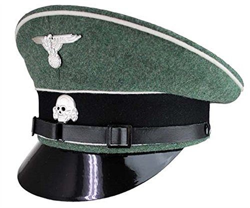 German Officer Hat Costume (WW2 German Elite Enlisted Visor Cap  (60, Large,)