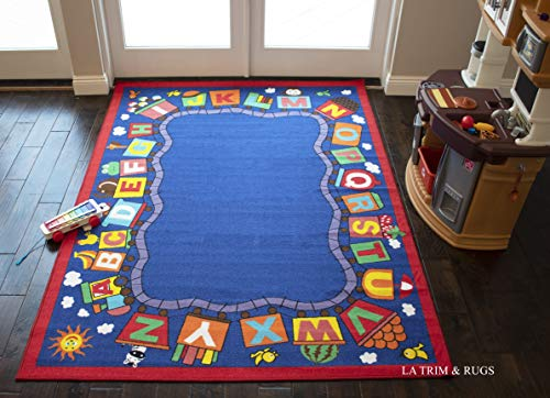 (5x7 Baby Kids Boys Girls Children Toddler Playroom Nursery Room Bedroom School Area Rug Carpet Fun Game Play ABC Animal Train Blue Red Colorful Multicolor Safe Sale (ABC Train)