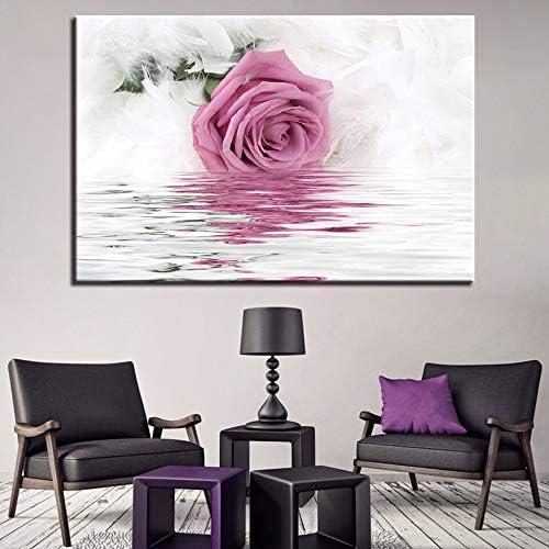 KWzEQ Imprimir en Lienzo Rosa Rosa Agua Poster andwall decoración para Sala de estar70x105cmPintura sin Marco