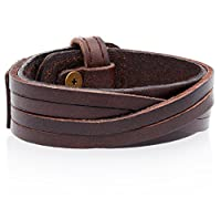 Authentic Regetta Jewelry Leather Casual Mens Brown Cuff Bangle Bracelet