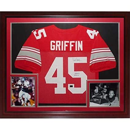 838a8bd1ccd Archie Griffin Autographed Signed Auto Ohio State Buckeyes Scarlet #45  Deluxe Framed Jersey H.T. 1974