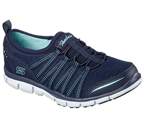 Skechers Womens Gratis Enticing Navy/Aqua Sneaker 8.5 22740