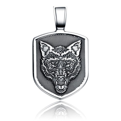 WOLF HEAD SHIELD SOLID 925 STERLING SILVER PENDANT PROTECTION TALISMAN WITH CORD NECKLACE