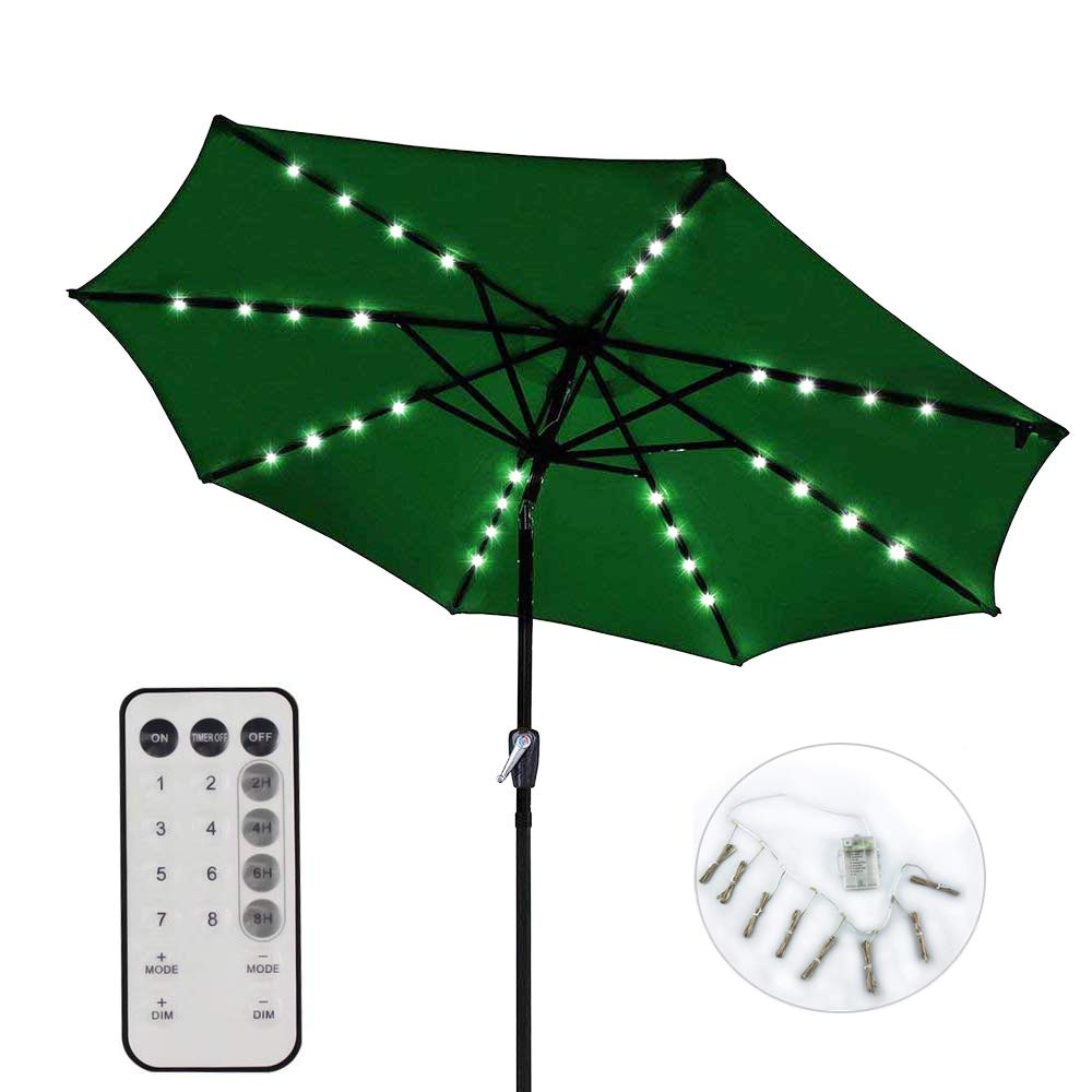 Umbrella Lights, ToBySome Patio Outdoor Umbrella Waterproof LED Rope Lights String Lights, Battery Operated Indoor Decor, 8 Strings, 13 LEDs per String Adjustable Brightness (Warm White)