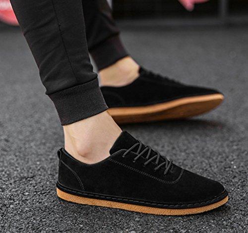 Sneaker Basse Scamosciato Anguang Uomo Scarpe Nero Scarpe Mocassini da Casual Stringate Guida 18F7qOwC8