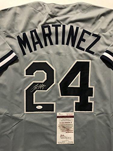 (Autographed/Signed Tino Martinez New York Yankees Grey Baseball Jersey JSA COA)
