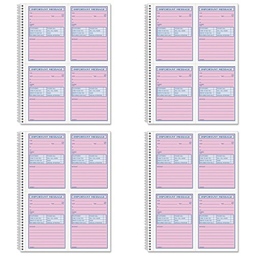Adams Spiral Bound Phone Message Book, Carbonless Duplicate, 4 Messages per Page, 200 Sets per Book (SC1184D), 4 Packs (Spiral Phone Message Book)
