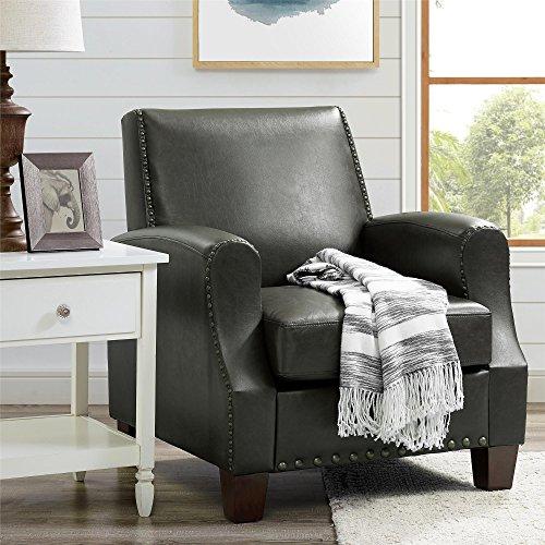 Upholstered Oxford Club - Dorel Living DL7440 Club Chair, Dark Gray