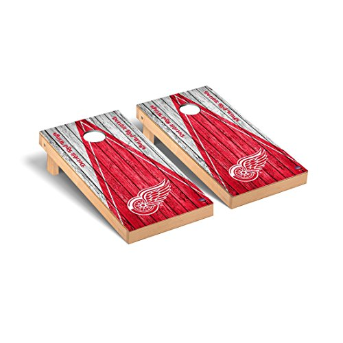 Detroit Red Wings NHL Regulation Cornhole Game Set Weathered Triangle Version by Victory Tailgate