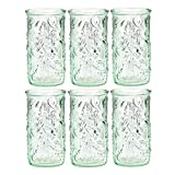 Amici Home 7AJ722S6R Frutta Highball Drinking Glass 18 Fluid Ounces Clear Green Recycled