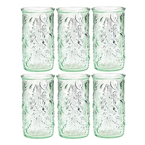 Amici Home 7AJ722S6R Frutta Highball Drinking Glass 18 Fluid Ounces Clear Green Recycled