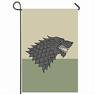 "Ahawoso Outdoor Garden Flags 12""x18"" Inch Baratheon Sigil Redraw House Stark Heraldic Robb Song Wolf Direwolf Westeros Bran Bolton Sansa Vertical Double Sided Home Decorative House Yard Sign"