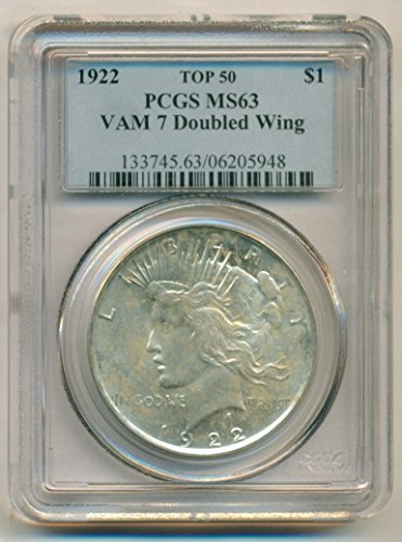 1922 Peace VAM-7 Doubled Wing R4 Silver Dollar MS63 PCGS
