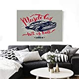 "Cars Canvas Wall Art Hot as Hell Muscle Car Quote Classic Vintage Sports Car in Navy Blue Print Paintings for Home Wall Office Decor 48""x32"" Navy Blue Red Pale Grey"