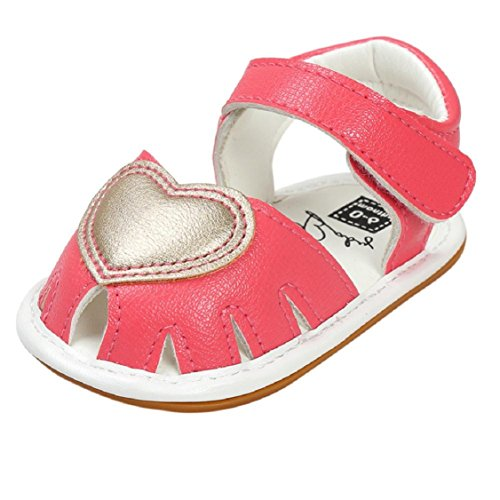 Vovomay Baby Infant Girls Toddler Soft Anti-slip Baby Girls Leather Sandals Casual Walkers Shoes (12~18 Month, Love-Hot (Hot Pink Love Boots)