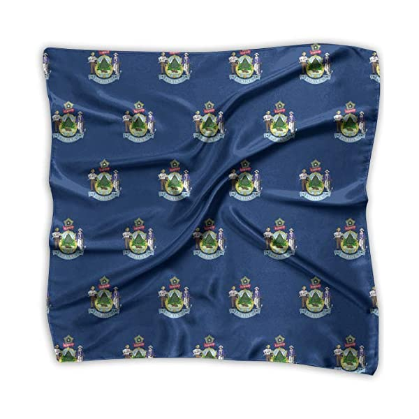 Ladies Vintage Maine Flag Pattern Print Square Handkerchiefs Bandanas Head & Neck Tie Scarf