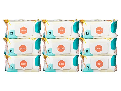 Parasol Baby Wipes - 9 Packs of 72 Count, 648 cnt total (lid type may vary) by Parasol Co