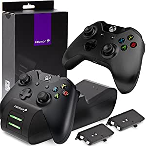 Fosmon Xbox One/One X/One S/Elite Dual Controller Charger, [Dual Slot] High Speed Docking Charging Station with 2 x 1000mAh Rechargeable Battery Packs - Black